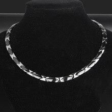 De los hombres de titanio collar de acero duro y autoritario collar de acero inoxidable planos de cerámica joyas para cuidado de la salud