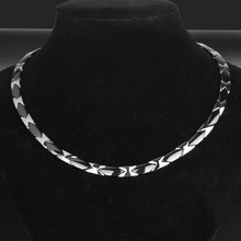 Mens Titanium Steel Necklace Rough and Overbearing Stainless Flat Ceramic Health Care Jewelry