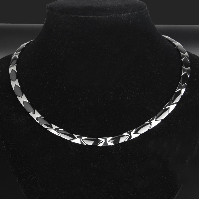 Mens Titanium Steel Necklace Rough and Overbearing Stainless Steel Necklace Flat Ceramic Health Care Jewelry