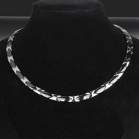 Men's Titanium Steel Necklace Rough and Overbearing Stainless Steel Necklace Flat Ceramic Health Care Jewelry