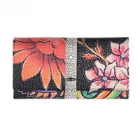 Flower Women Wallet Genuine Leather Female Purse Long Printing Floral Women Retro Leather Wallet Clutch Party