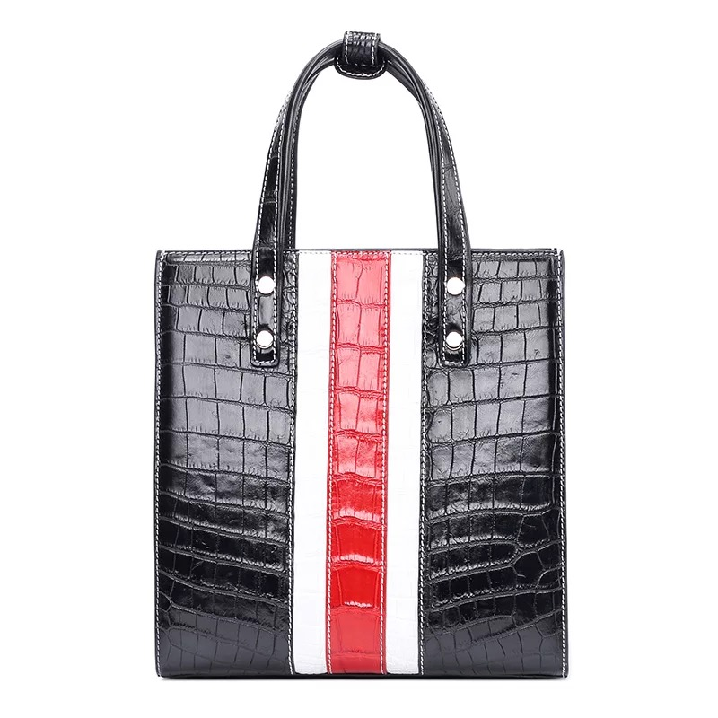 купить Luxury Striped Design Genuine Crocodile Belly Skin Women Totes Handbag Lady Portable Purse Alligator Leather Female Shoulder Bag по цене 61723.44 рублей