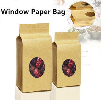 Free Shipping 100pcs/lot 8-side Stand up Paper Gusset Window Bag Tea/Coffee Beans Bag, Organza Gift Bag
