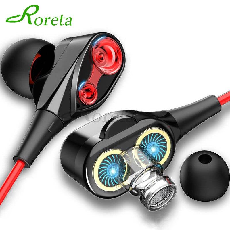 Roreta double lecteur stéréo filaire écouteur intra-auriculaire Sport casque avec micro mini écouteurs écouteurs pour iPhone Samsung Huawei Xiaomi