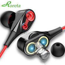 Roreta Dual Drive Stereo Wired earphone In-Ear Sport Headset With Mic mini Earbuds Earphones For iPhone Samsung Huawei Xiaomi(China)