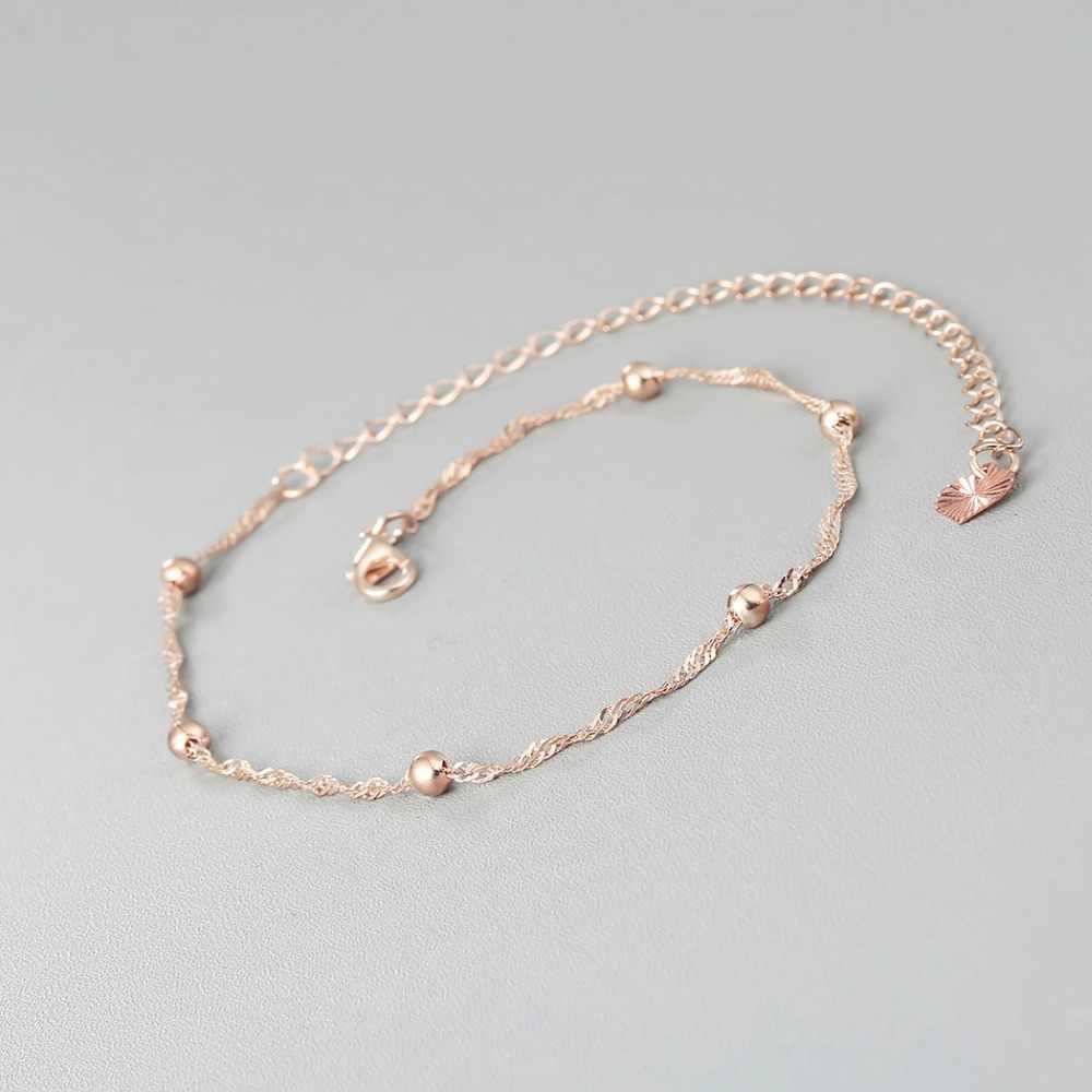 Крошечные ножной браслет на ногу с шариками, цепочка на лодыжку, браслет для женщин и девушек, очаровательные модные летние ювелирные изделия из сплава розового золота