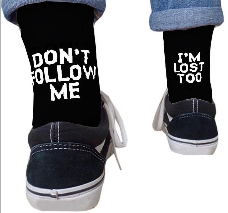 Dont Follow Me Casual Socks I Am Lost Too Hip Hop Street Skateboard Harajuku Socks For Men And Women Happy Meias