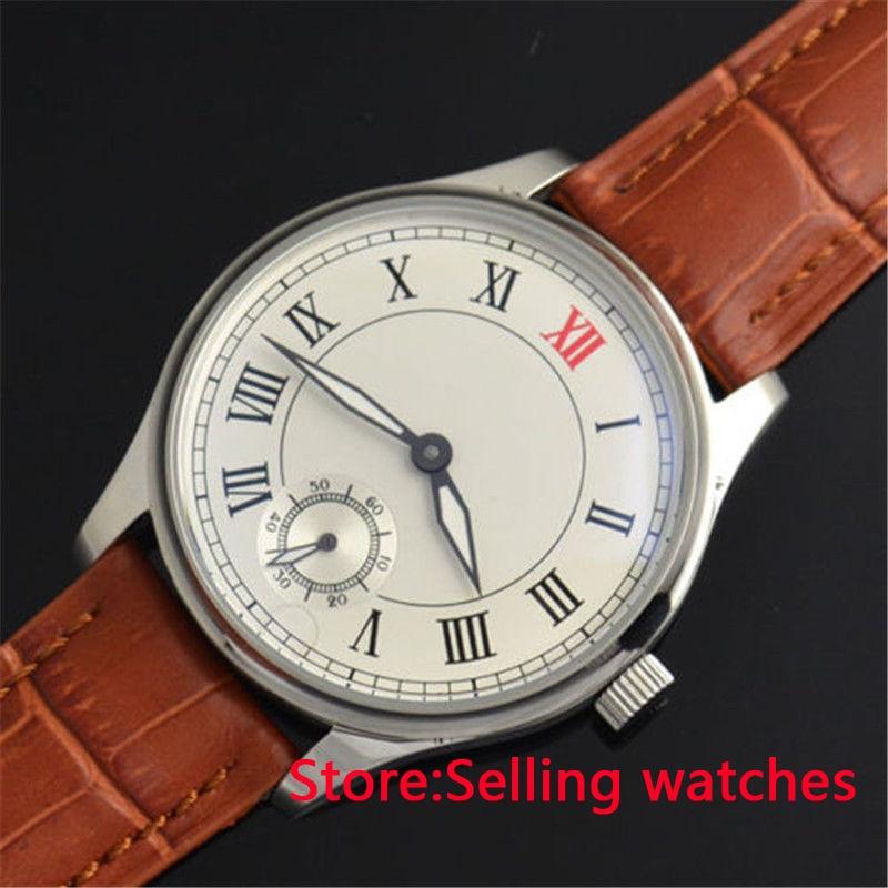 все цены на 44mm parnis white dial stainless steel hand winding Asia 6498 mens wristwatch онлайн