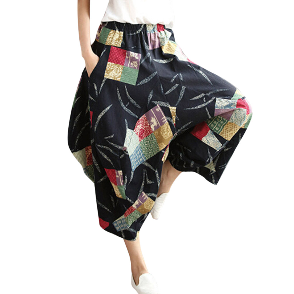 High-end boutique fashion personality women's casual elastic waist cotton and linen printed loose harem   wide     leg     pants   hot sale