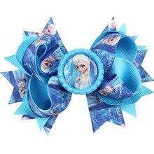 10 Colors Baby Girls Hair Bow Hair Pins Princess Elsa Anna Ribbon With Alligator Clip Kids Hair Accessories H020
