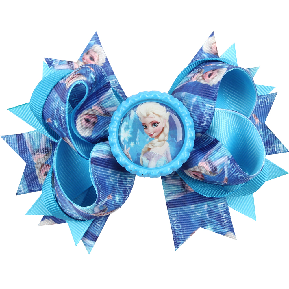 JRFSD Flower Hair Clip för Girls Bow Headband Elsa Anna Ribbon With Alligator Kids Hårtillbehör Girls Hair Bands för Girls