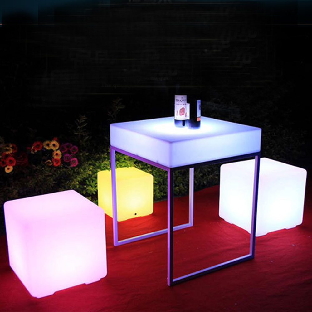 LED side stool luminous cube outdoor IP65 IP68 luminous furniture creative bar stool remote control colorful changing Size 35cm led cube chair outdoor furniture plastic white blue red 16coours change flash control by remote led cube seat lighting