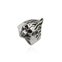 Hip-Hop Punk Flame Skull Head Ring Mens Retro Silver Man Woman Fashion Personality Christmas Gift Jewelry