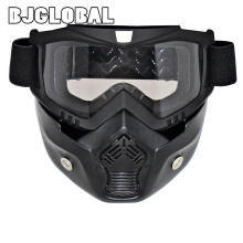 Detachable Motorcycle Goggles Glasses Mask Visor Ski Snowboard Motocross Oculos Gafas for Open Face Motorcycle Half Helmet