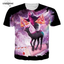 Sloth Pizza Space Galaxy 3D T Shirt Men Women Short Sleeve O Neck Summer Tops Casual Tee Shirt Homme Plus Size Tshirt T-shirts(China)