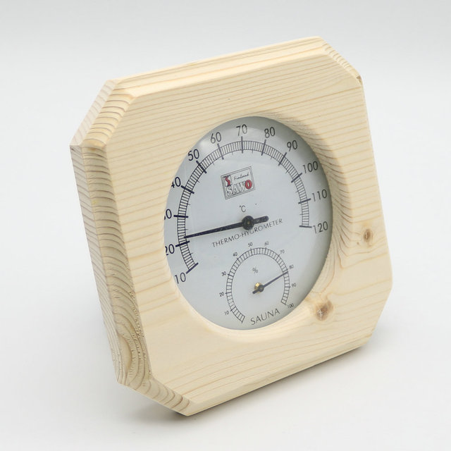 Single Sauna Accessory Wooden Hygrothermograph Thermometer Hygrometer Sauna Room