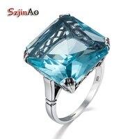 Szjinao Cao Bán Buôn Đồ Trang Sức chất lượng Cổ Điển Rắn 925 Sterling Silver Nhẫn Bạc cho phụ nữ quảng trường blue Cubic Zirconia món quà Lớn