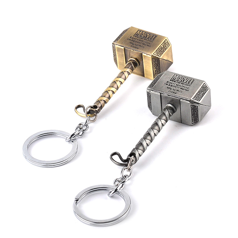 Hot Sale Vintage Thor Hammer Keychains Marvel Avengers Men Key Rings Movie Key Holder Thor The Dark World KeyFinder Bags Keyring