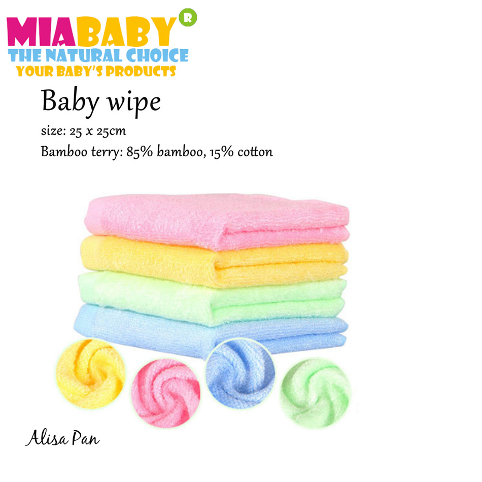 Miababy (8pcs/lot) Bamboo terry wipes,for Baby Feeding Baby Face Towels Washers Hand ,bathing