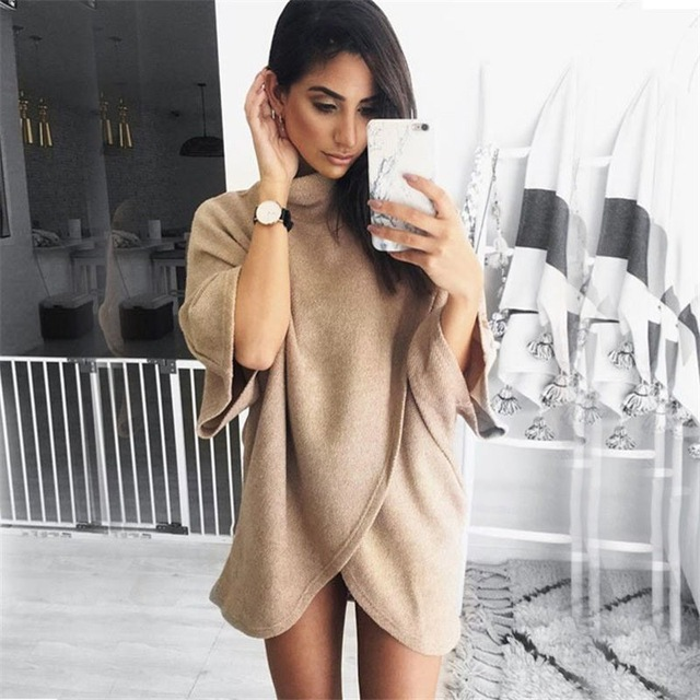 3/4 Sleeve Criss Cross Sweater New Women Turtleneck Pullover Knitted Long Sweaters Winter Loose Tops Black/Arm Green/Khaki