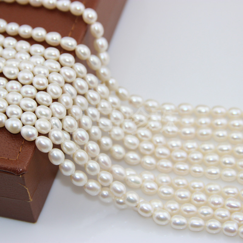 Women Gift natural freshwater pearl necklace Factory wholesale 5PC set 14.5inch Bead DIY meters strong light near flawless 6 7MM
