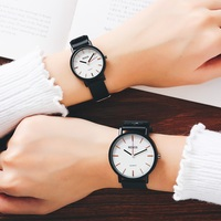 RENOS Lovers Watches Casual Fashion Quartz Watch With Box Stylish Wristwatches PU Band For Men Woman Unisex Black White Clock
