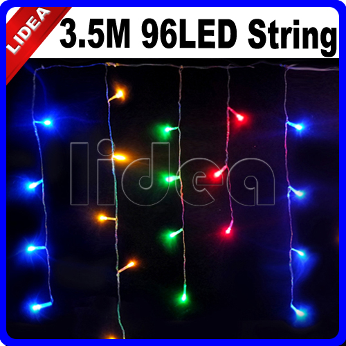 3.5M 96 LED 9 Colors Wedding Party New Year Garland LED Christmas String Icicle Outdoor Decoration Curtain Fairy Light HK C-15