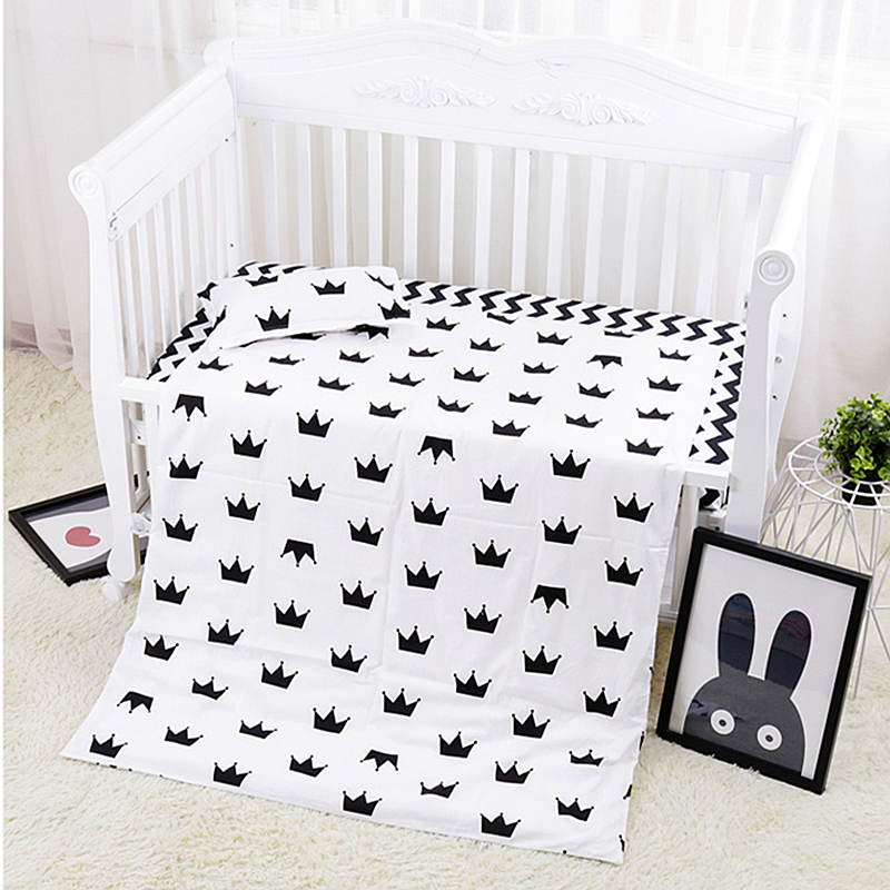 Hot Sale 3 Pcs Baby Cot Set Crib Bedding Linen 100% Cotton Baby Bedding Set Pillow Case+Bed Sheet+Duvet Cover Without Filling beauty watercolor maple leaf cotton and linen pillow case(without pillow inner)