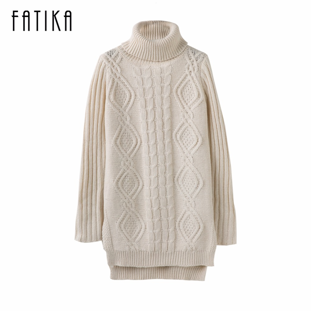 FATIKA Women Sweaters And Pullovers Ladies Side Split Sexy Dress Slim Casual Turthleneck Ripped Knitted Mini Dress For Women