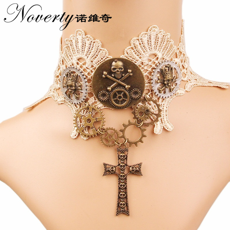 Detail Feedback Questions about Retro Gothic Punk Mechanical Gears Cross  Pendant Lace Choker Necklace Women s Fashion Jewelry Halloween Gifts FY 145  on ... 549c58acc61b
