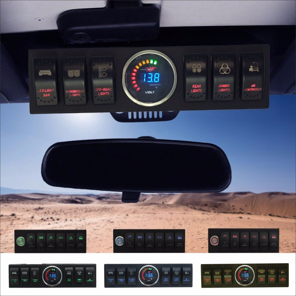 Wrangler JK JKU 2007 2018 Overhead 6 Switch Pod Panel with Control and Source System Red