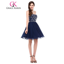 Grace Karin 2017 Chiffon Short Homecoming Dresses Beading Sequin Navy Blue Black Red Sweetheart Sexy Party Gown Dance Dresses
