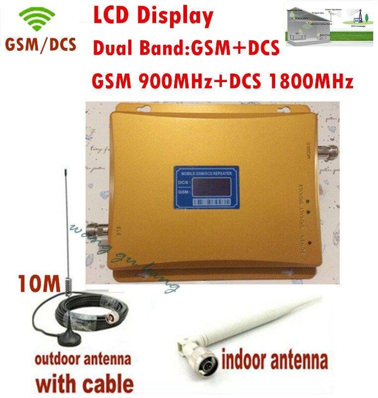 Display LCD!! Dual Band GSM 900 MHZ & DCS 1800 mhz Impulsionador do Sinal GSM DCS Repetidor amplificador + antena externa coberta 1 conjuntos
