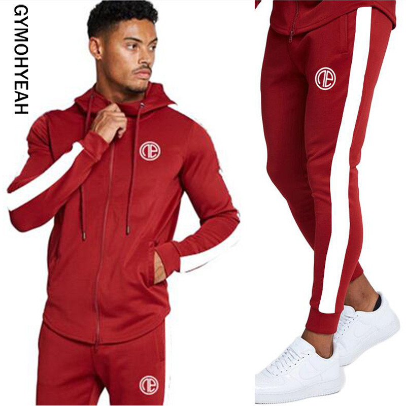 GYMOHYEAH Gyms Men's Sets 2019 Fashion Sportswear Tracksuits Men's Sets Hoodies+Pants Casual Outwear Suits Independence Match