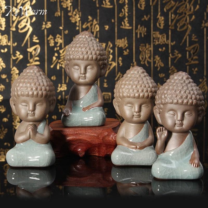KiWarm Newest Buddha Statue Figurine Monk Tea Pet Car Decor Bonsai Garden  House Decoration Tathagata India