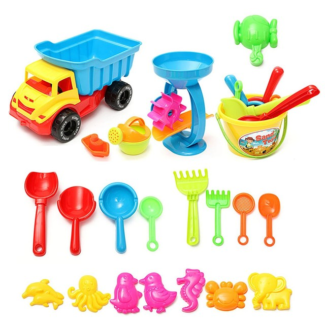 Novo 21 pçs/set Jogar Brinquedos da Areia da Praia Conjunto Balde Ancinhos Areia roda de Rega Areia Jogar Brinquedos De Banho Para Crianças de Aprendizagem Estudo brinquedos