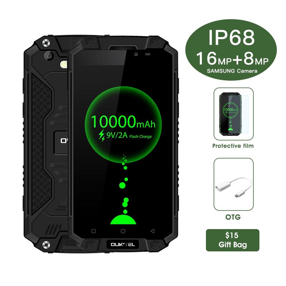 Oukitel K10000 Max 10000mAh IP68 Tri-Proof Smartphone 5.5 Android7.0 MTK6753 Octa Core 3GB 32GB USB Type C Ruggerdised 4G Phone