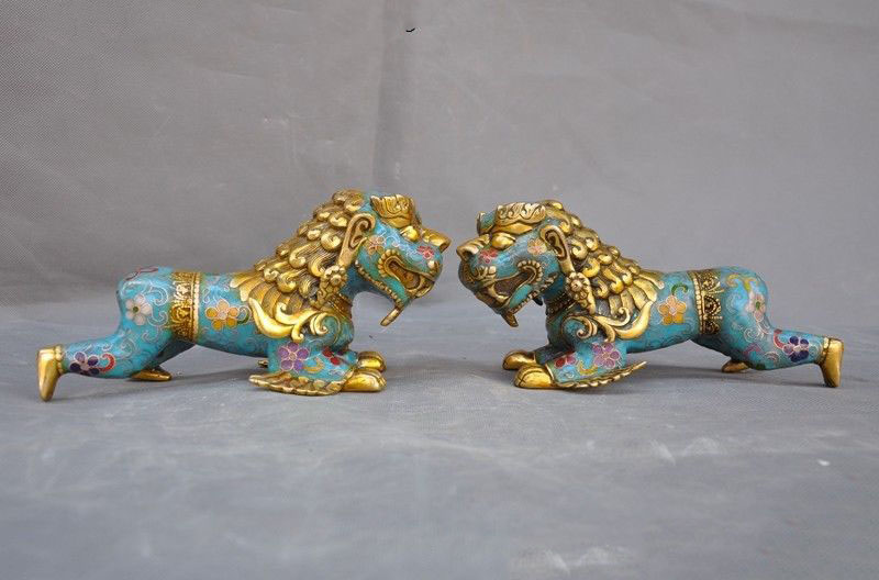 christmas old China bronze Cloisonne Gilt Feng shui wealth foo dog lion beast statue pair halloweenchristmas old China bronze Cloisonne Gilt Feng shui wealth foo dog lion beast statue pair halloween