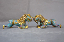 christmas old China bronze Cloisonne Gilt Feng shui wealth foo dog lion beast statue pair halloween