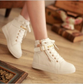 2015 Women's Canvas Shoes Ankle Winter Ladies Rivets Studded Fashion Buckle Lace up canvas shoes Drop shipping P049