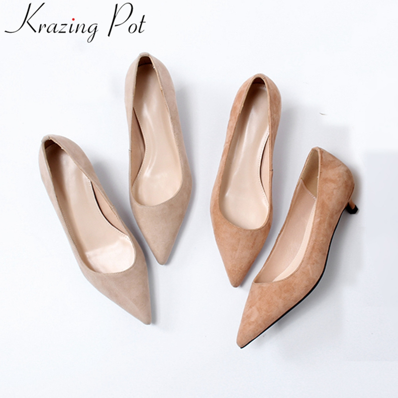 2019 new kid suede med heels shallow pointed toe women pumps concise brand luxury elegant office