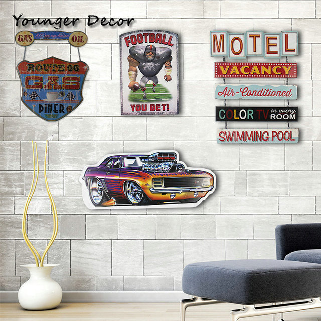 Route 66 Gas Oil Diner Metal Tin Sign Motel Vacancy Wall Art Iron Painting Decor Pub