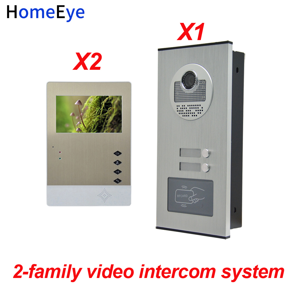 HomeEye 2 Families Door Bell Home Access Control System 4.3 LTD 4-Wire Multi Apartments Video Phone Intercom + RFID Card