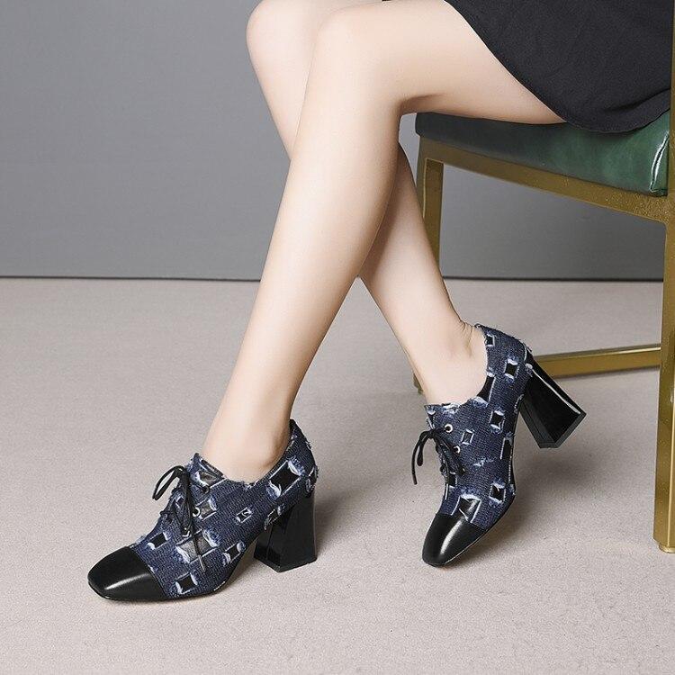 2019 femme talons hauts grande taille 33-43 mode pompes femmes chaussures épais talons hauts à lacets denim chaussures femmes robe de mariage chaussures