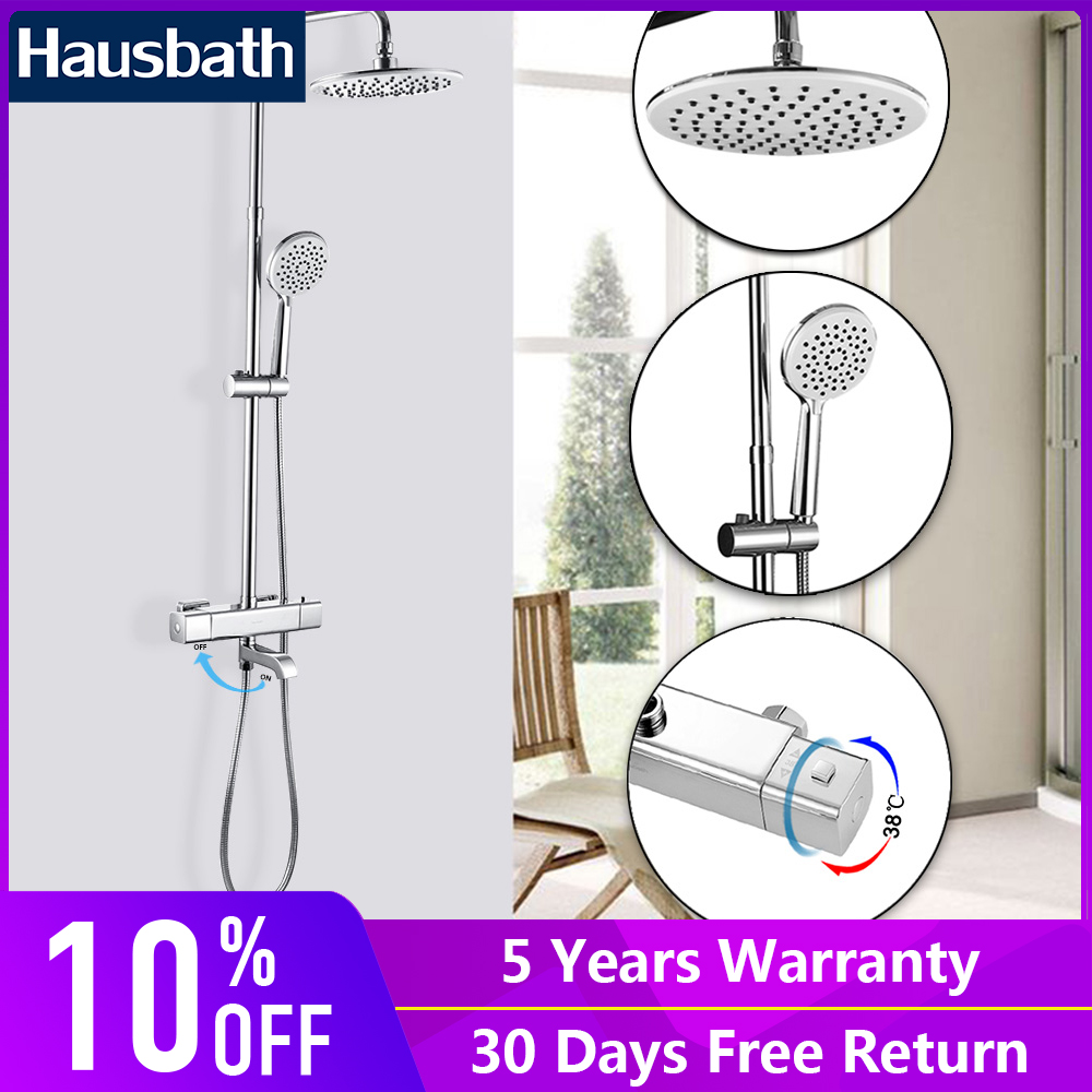 Bathroom Shower Faucets Set Thermostatic Tap Waterfall Jet Five Function Shower Bath Mixer Tap Hand Shower Head Slide Bar цена