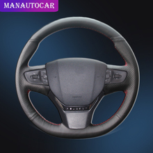 Car Braid On The Steering Wheel Cover for Peugeot 408 2014 2015 Hand Stitching Interior Auto Car-Styling