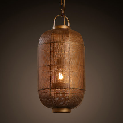 Creative Loft Style Iron Net Lantern Vintage Pendant Light Antique Industrial Lamp Hanging Fixtures Indoor Lighting