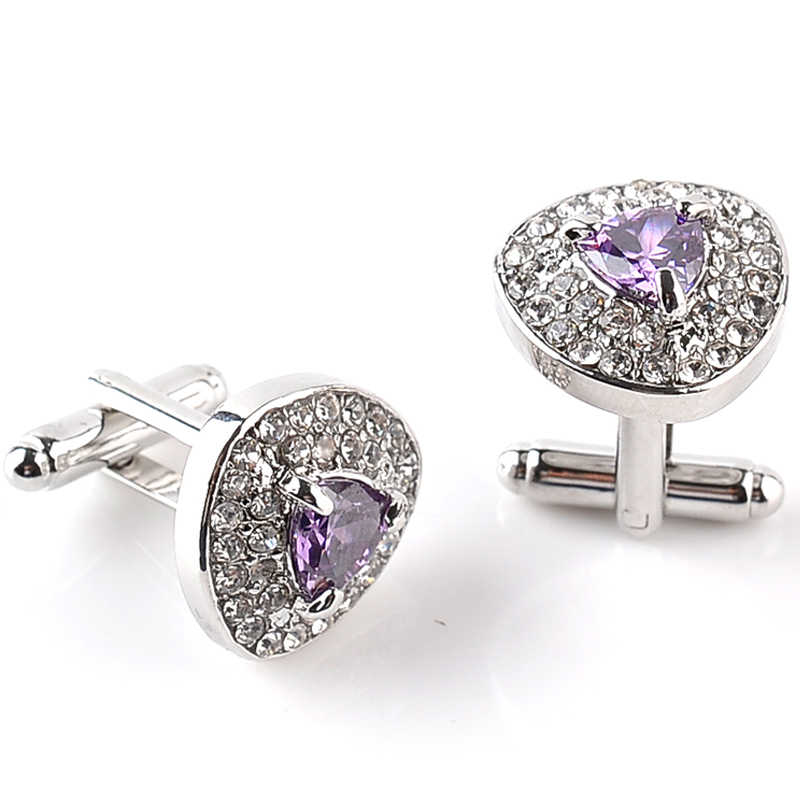 Luksusowe spinki do mankietów dla mężczyzn i kobiet cyrkon czarny fioletowy biały kryształ moda marka mankiet Botton wysokiej jakości