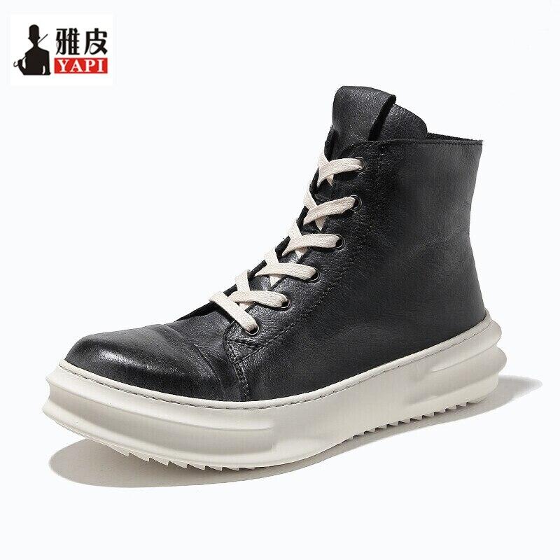 2018 New! Mens Winter Mid-calf Boots Full Grain Leather Thick Heel Martin Winter Snow Boots Man Heighten Shoes стоимость