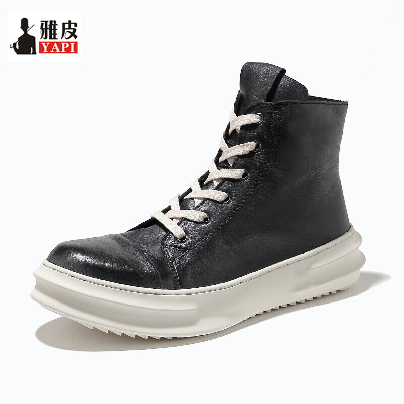 2020 New! Mens Winter Mid-calf Boots Full Grain Leather Thick Heel  Winter Snow Boots Man Heighten Shoes